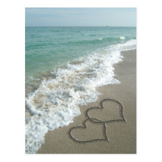 Two Sand Hearts on the Beach, Romantic Ocean Postcards