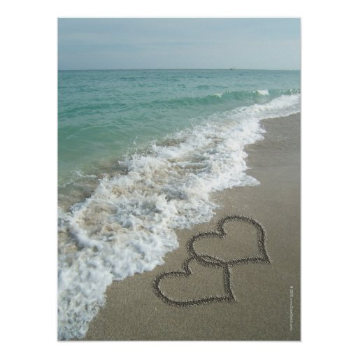 Two Sand Hearts on the Beach, Romantic Ocean Poster