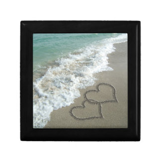 Two Sand Hearts on the Beach, Romantic Ocean Small Square Gift Box