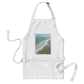 Two Sand Hearts on the Beach, Romantic Ocean Standard Apron