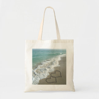 Two Sand Hearts on the Beach, Romantic Ocean Canvas Bags