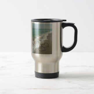 Two Sand Hearts on the Beach, Romantic Ocean Travel Mug
