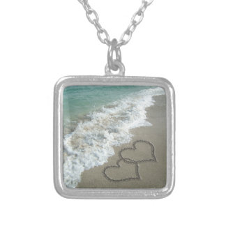 Two Sand Hearts on the Beach Silver Plated Necklace