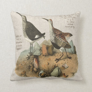 Two Sandpipers with Poem added Throw Pillow