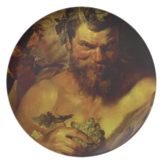 Two Satyrs (oil on panel) Dinner Plate