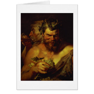 Two Satyrs (oil on panel) Greeting Card