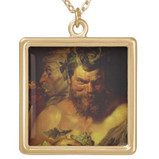 Two Satyrs (oil on panel) Personalized Necklace