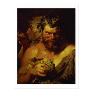 Two Satyrs (oil on panel) Postcard