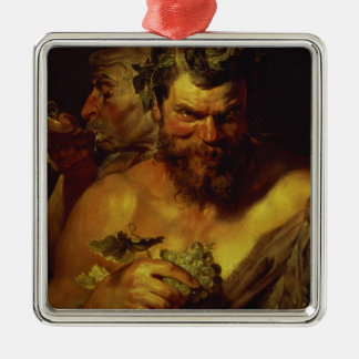 Two Satyrs (oil on panel) Silver-Colored Square Decoration