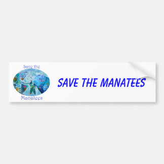 Two Save Manatees in Oval Design Ocean Blues Car Bumper Sticker