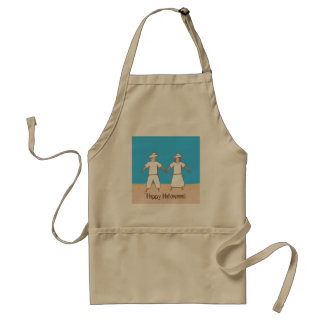 Two Scarecrows Holding Hands Halloween Aprons