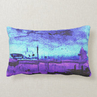 Two Scenes: Watercolor boat and Birds in branches Lumbar Cushion