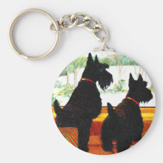 Two Scottie Dogs At Christmas Basic Round Button Key Ring
