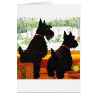 Two Scottie Dogs At Christmas Card