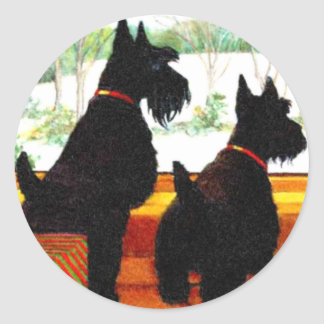 Two Scottie Dogs At Christmas Classic Round Sticker