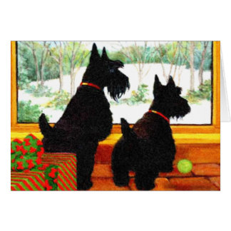 Two Scottie Dogs Waiting for Santa Claus Greeting Card