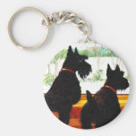 Two Scottie Dogs Waiting for Santa Claus Keychain