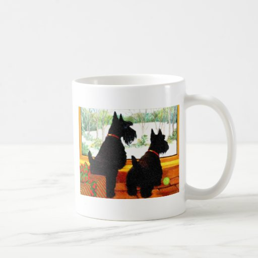 Two Scottie Dogs Waiting for Santa Claus Coffee Mug