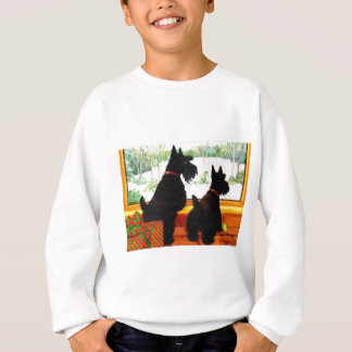 Two Scottie Dogs Waiting for Santa Claus Sweatshirt