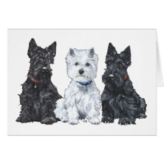 Two Scotties and a Westie Greeting Card