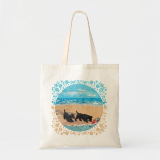 Two Scotties at the Beach Tote Bags
