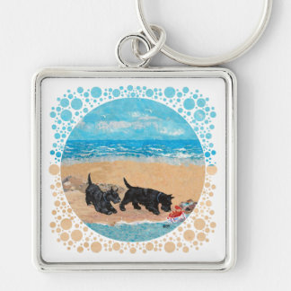 Two Scotties at the Beach Key Chains
