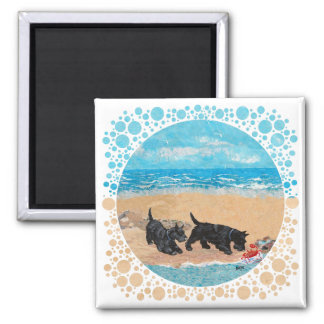 Two Scotties at the Beach Square Magnet