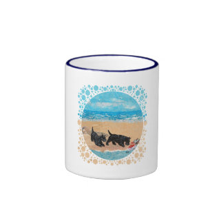Two Scotties at the Beach Coffee Mug