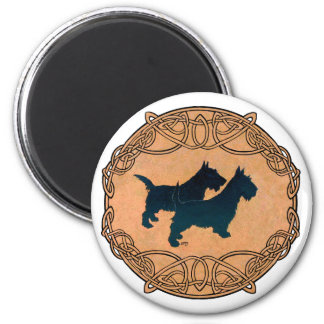 Two Scottish Terriers in Celtic Knotwork 6 Cm Round Magnet