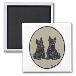 Two Scottish Terriers Square Magnet
