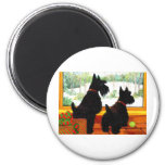 Two Scotty Dogs at Christmas 6 Cm Round Magnet