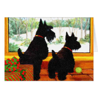 Two Scotty Dogs at Christmas Greeting Card