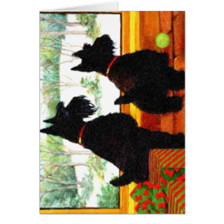Two Scotty Dogs at Christmas Card