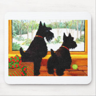 Two Scotty Dogs at Christmas Mouse Pad
