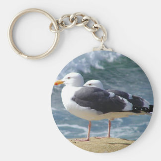 Two Seagulls Basic Round Button Key Ring