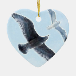 Two Seagulls Ceramic Heart Decoration
