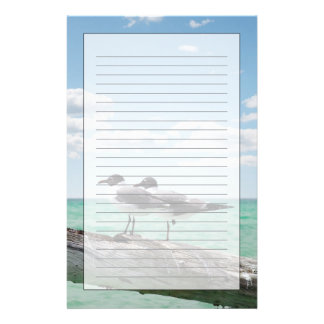 Two seagulls sitting on a dead tree sticking out stationery