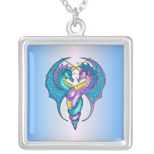 Two Seahorse Dragons Sketched in Blue and Purple Custom Necklace