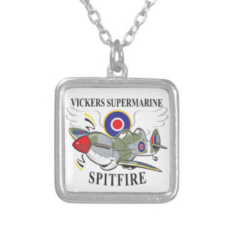 two seat spitfire trainer square pendant necklace