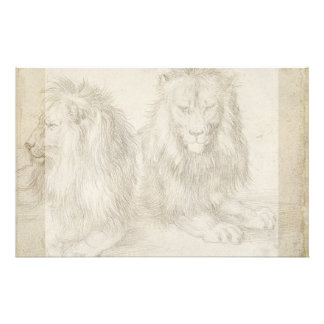 Two Seated Lions by Albrecht Durer 14 Cm X 21.5 Cm Flyer