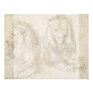 Two Seated Lions by Albrecht Durer 21.5 Cm X 28 Cm Flyer