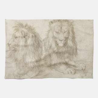 Two Seated Lions by Albrecht Durer Tea Towel