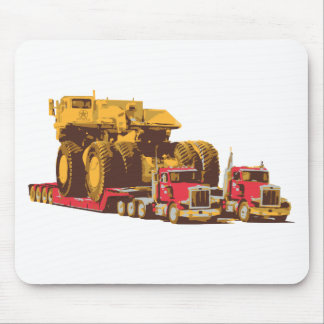 Two Semi Big Trucks carrying a Huge Mining Truck Mouse Mat