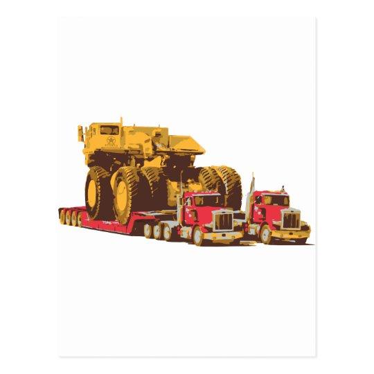 Two Semi Big Trucks carrying a Huge Mining Truck Postcard