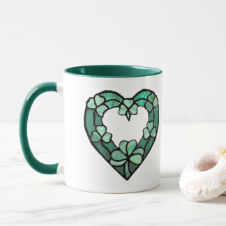Two Shamrock Heart Mug