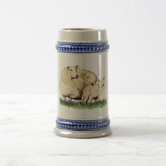 two sheep beer stein coffee mug