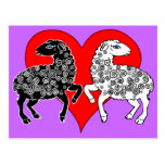 Two Sheep Black White Lambs Big Red Heart
