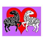 Two Sheep Black White Lambs Big Red Heart