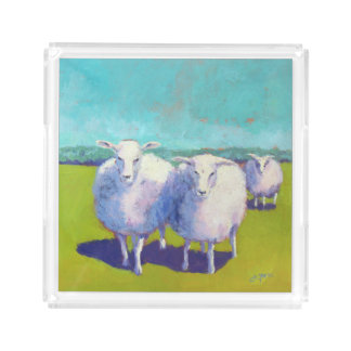 Two Sheep In Field Acrylic Tray