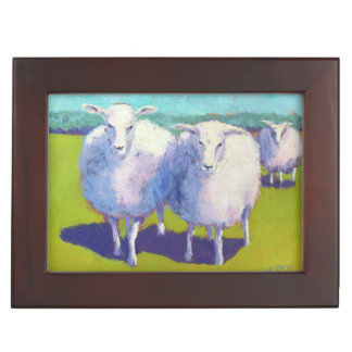 Two Sheep In Field Keepsake Box